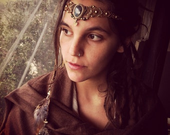 made by order Powerful Labradorite & feathers Headband Tribal Headpiece energy stone and brass beads