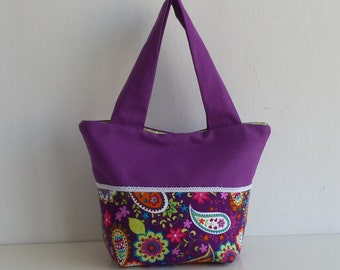 Purple Paisley Small Canvas Tote bag