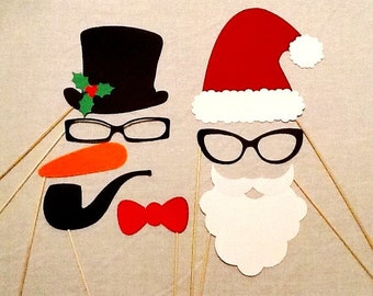Christmas Photo Booth Props 8 pc Holiday Photo Booth Props Santa Claus and Frosty the Snowman Ugly Sweater Party Holiday Party Decorations