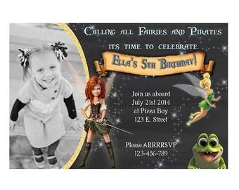 Pirate Fairy Invitation - printable - DIY - digital file (fp5)