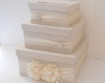 Wedding Card Box / Wedding Money Box / Wedding Card Holder / Wedding Gift Card Box / 3 Tier (Ivory & Ivory)