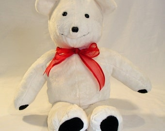 Plush white teddy bear