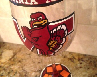 Hand-Painted College Team Wine Glasses