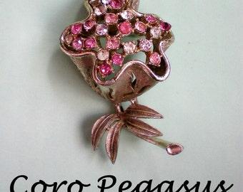 Coro Pegasus Adolph Katz Pink Trembler Rhinestone Flower Pin - 2883