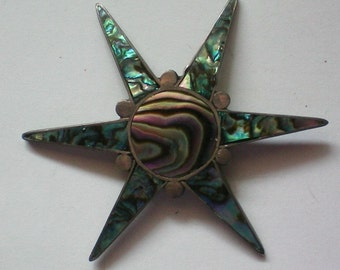 Silver and Abalone Shell Star from Mexico - 3305