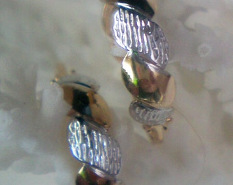 Petite Gold/Silver Tone Wire Hoops marked S K L - 1624