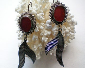 Red Jasper and Sterling Silver Dangle Earrings - 2196