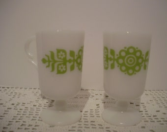 2 - Milk Glass Retro Footed Mugs White & Green
