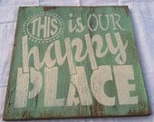 This is our HAPPY PLACE Hand painted, WELCOME Sign, Home decor 12 x 12 in. Wood Porch Sign. Leave a message with style & color choice.