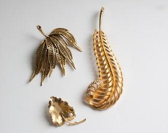 3 Vintage Gold Tone Leaf Pins Signed Wells 14K GF, M Jent, Unsigned Leaf Pins