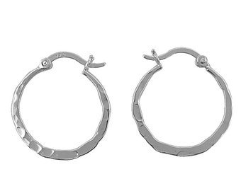 Sterling Silver Hammered Hoops/Flat Hamered Hoops/Hoop Earrings/.925 Sterling Silver/Everyday Hoops/Flat Hoops/Every Day Hoops/Round Hoops
