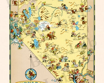 Pictorial Map of Nevada - colorful fun illustration of vintage state map