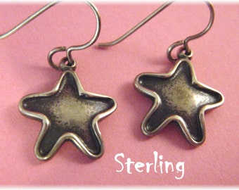 ROGGIO - Sterling Silver Oxidized - Star Contemporary Earrings - New Age Patriotic Design - Perfect Gift - Valentines Day - FREE SHIPPING
