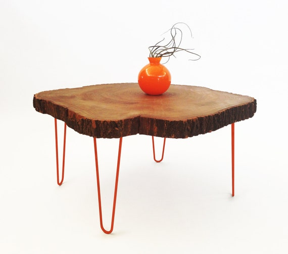 Round Wood Hairpin Coffee Table: X-Large Live Edge Coffee Table W/ Hairpin Legs