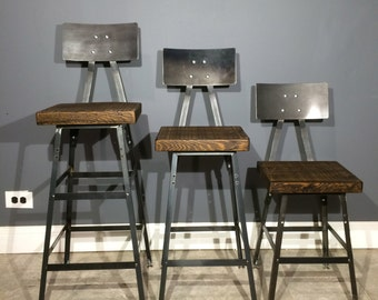 """Industrial Bar Stool Made from Reclaimed Wood -Bar height (30"""") , Counter Height (25""""),  and 18"""" High"""