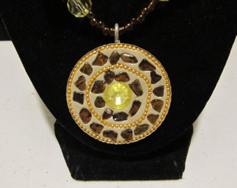 Brown & Yellow Circle Pendant Necklace