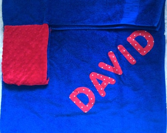 Personalized Bath Towel,  Personalized Hooded Towel,Baby Hooded Towels, Hooded Bath Towels, Bath Towel,  Girls/Boys Towel, Red and Navy