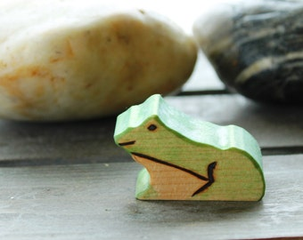 Pond Frog Wooden Waldorf Inspired Eco Friendly Natural Wood Toad Toy