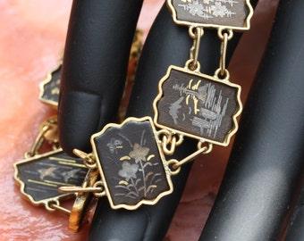 Elegant Vintage Japanese Damascene Bracelet