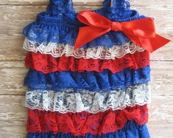Fourth of July romper, memorial day outfit, Fourth of July outfit, Memorial Day outfit, patriotic outfit, romper headband, Red white blue