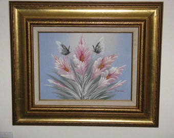 Sale Price! Vintage original acrylic painting framed signed pink flowers butterflies