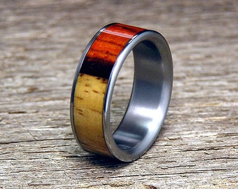 Two-toned Cocobolo Heartwood and Sapwood Inlay Titanium Wedding Band or Ring