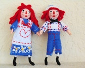 RAGGEDY ANN and ANDY Art Dolls, Miniatures Set of two.