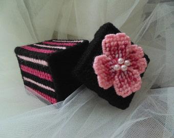 Pink Primrose Jewelry Box Needlepoint Beaded Treasured Gift Box