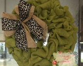 Classic Burlap Fall Wreath With Leopard Bow