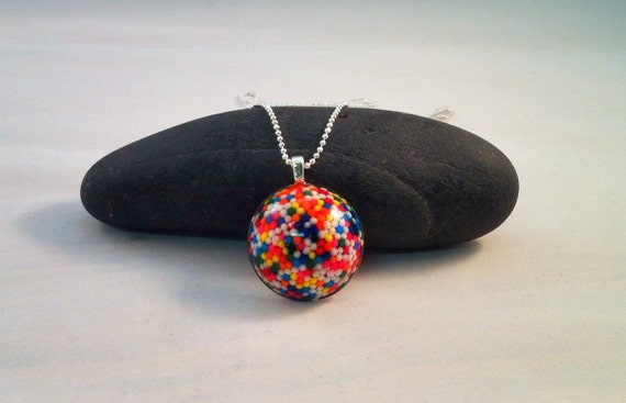 Rainbow Sprinkled Pendant with sterling silver chain