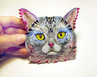 Blue Cat Face animal sticker // SALE 3 for 2 // 100% waterproof vinyl label.