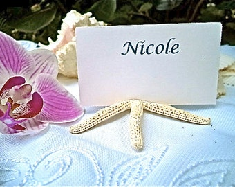 BRIDE'S FAVORITE Starfish Place Card Holders.  Beach place card holders in white with diamond dust.  Set of 8