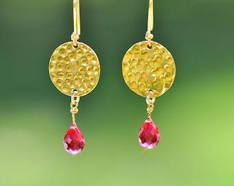 Pink Earrings - Pink Tourmaline Earrings - hammered texture -  teardrop - gold jewelry - gold earrings  - Pink tourmaline - earrings- dangl