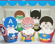 Printable Digital PDF File - Cupcake Wrappers Superhero Baby Boy Set