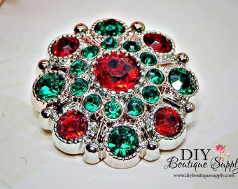 5pc CHRISTMAS Rhinestone Buttons Red & Green - Holiday Crystal Rhinestone Embellishments Flower centers Headband Supplies 28mm 175040