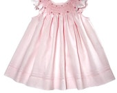 Glorious pink infant baby bishop, made in 100% peruvian cotton and hand smocked, The bonnet can be added separately size 6 m to 6 y 17825