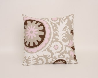 pink white beige and brown pillow cover in premier prints bella cozy suzani designed to fit
