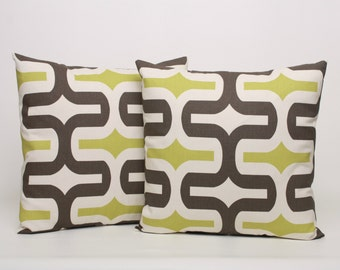 Throw Pillow Cover PAIR Brown Green Cream Cushion Cover Throw Pillow Cover 20x20 Brown Green Retro Modern Pillow Sham Accent Pillow