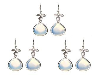Opal Leaf Earrings, Flower Earrings, Drop Earrings, Dangle Earrings, Wedding Jewelry, Bridesmaid Jewelry, Mother's Day