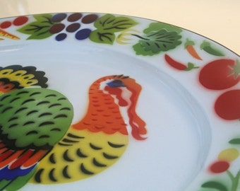 Vintage Enamelware Turkey Platter, Large and Colorful with Cornucopia of Fruit and Vegetables Around the Rim on Bright White Happy Holidays