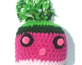 Pink and Green Beanie Hat with Pom Pom Eyes and Nose Ready to ship, Dark and Light Pink and Green Beanie Hat, Hat with Pom Pom, Newborn Hat