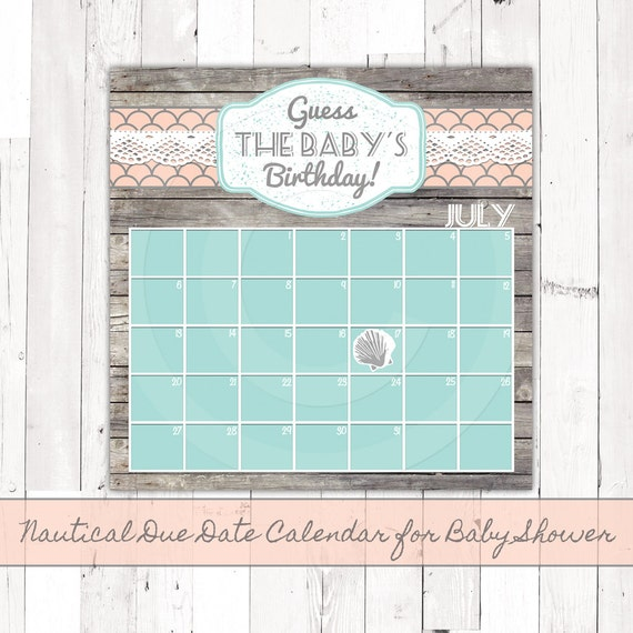 nautical baby shower calendar guess baby 39 s birthday aqua coral or