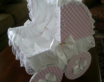 The Chloe 18 Inch Baby Carriage Centerpiece / Baby Shower Centerpiece / Carriage Centerpiece