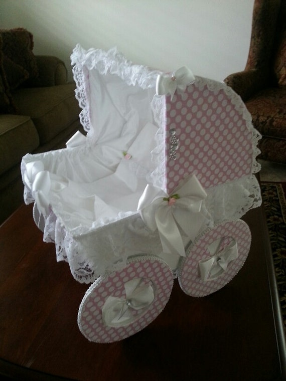 The chloe 18 inch baby carriage centerpiece baby shower for Baby carriage decoration