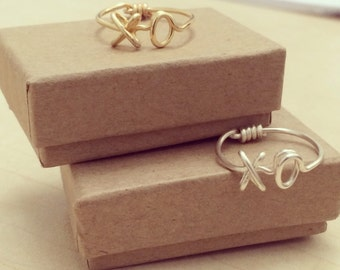 """Handmade Gold or Silver Wire """"XO"""" Ring"""