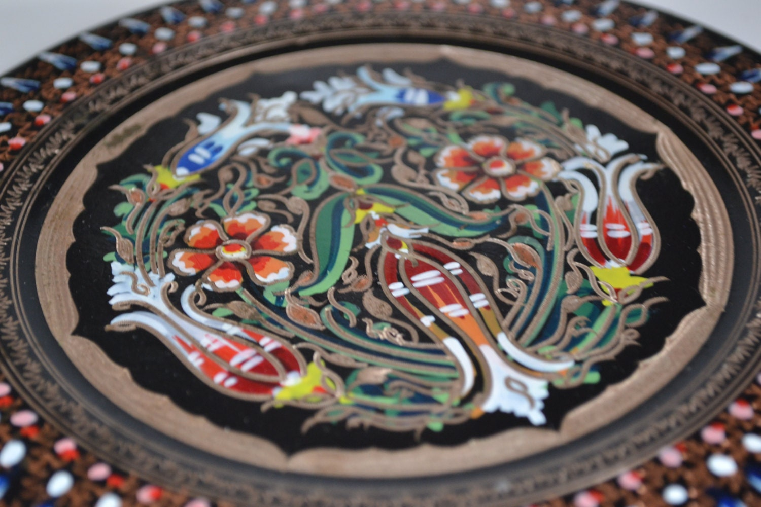 Decorative Wall Plates For Hanging: Antique Colourful Wall Decor Plate/ Hand Painted Metal Wall
