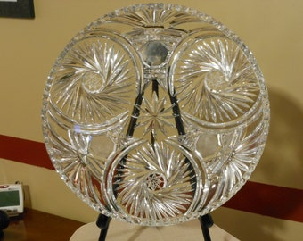 Large Round Cut Crystal Plate
