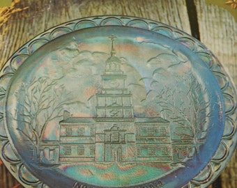 Blue Carnival Glass Bicentennial Commemorative Plate from Indiana Glass Company