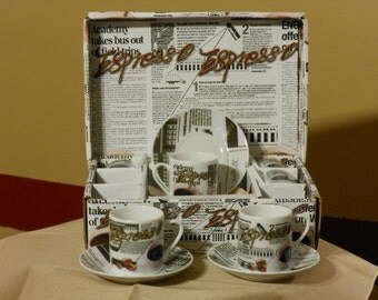 Boxed Set of 6 Demitasse Cups with 6 Saucers