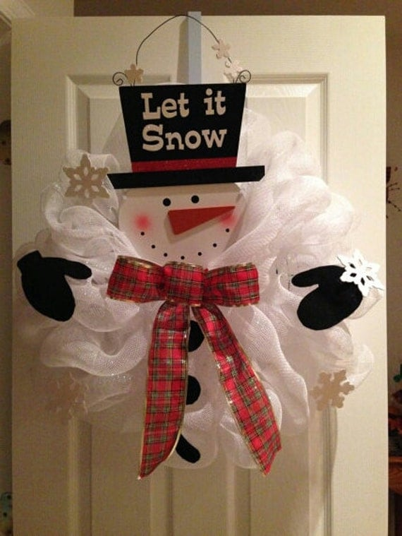 Let it snow deco mesh snowman by glitzynditzydecomesh on etsy
